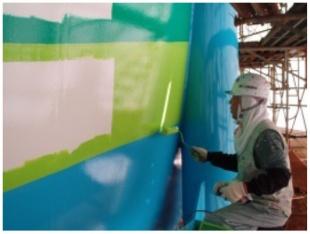 球形タンクの作り方(塗装作業)